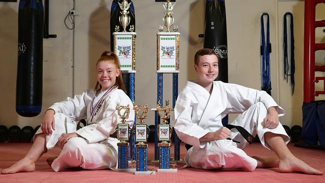 Penrith Katate Champions Tylisha Turner and Daniel Brown.